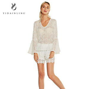 V-Neck Lace Transparent White Flare Sleeve Blouse Women Shirts