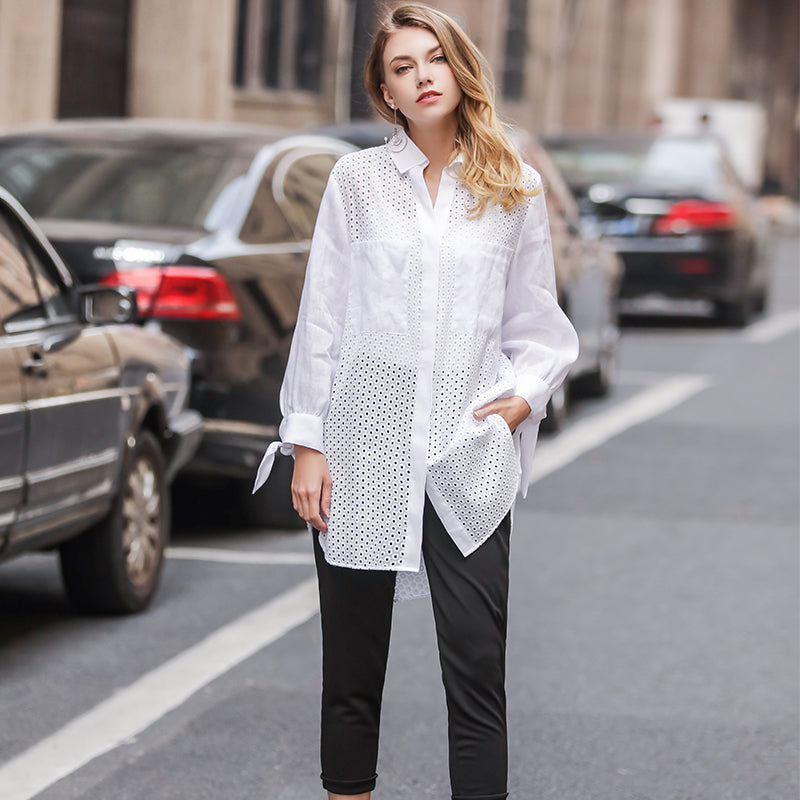 White Hollow Irregular Long Sleeve Linen Blouse Women Shirt Tops