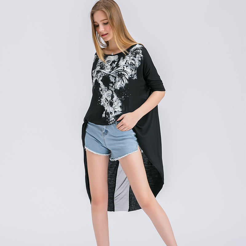 Summer Black Tops Skull Print Irregular Round Neck Women Clothes Sleeve T-shirt