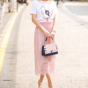 Elegant Black & Pink Women Lace Solid Casual Mesh Short Skirts