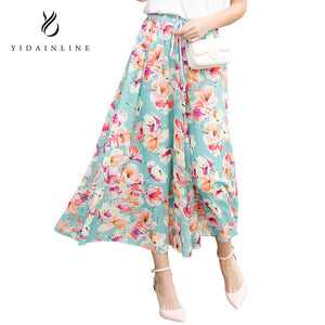 Summer Bohemia Fashion Floral Print Ankle-Length Dress Chiffon Maxi Women Skirts