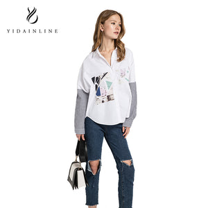 Spring Summer Long Sleeve Blouse Printing Collar Stamp Women Shirt