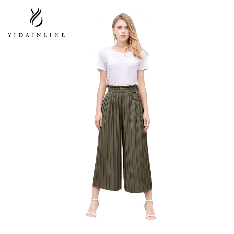 Summer Casual Loose Trouser Linen Waist Ankle-Length Pleated Wide Women Leg Pants