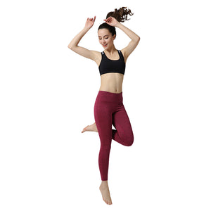 Nine Points Red Color Yoga Pants Tights High Elastic Gym Trousers For Leggings Sportswear Running