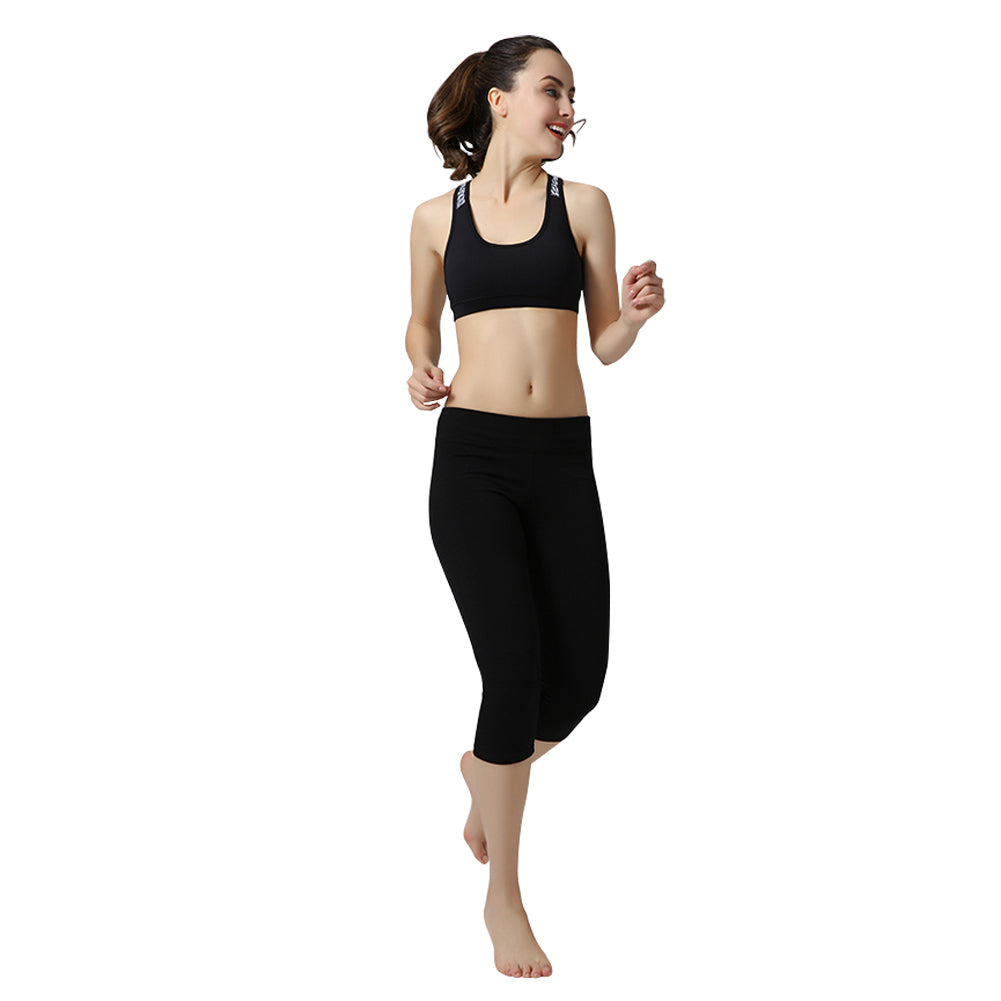 Seven Points Black Color Yoga Pants Dry Fit Sport Pants Tights High Elastic Gym Trousers
