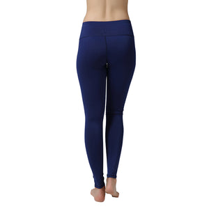 Nine Points Blue Color Yoga Pants Tights High Elastic Gym Trousers For Sportswear Running