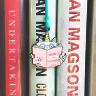Magic + Unicorns ~ Enamel cat charm and tassel bookmark by My Cat Is People. #booksaremagical