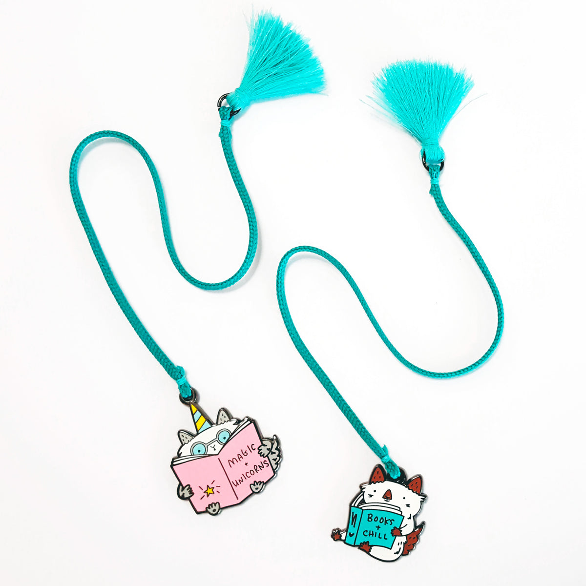 Enamel cat charm and tassel bookmarks by My Cat Is People. #booksandchill