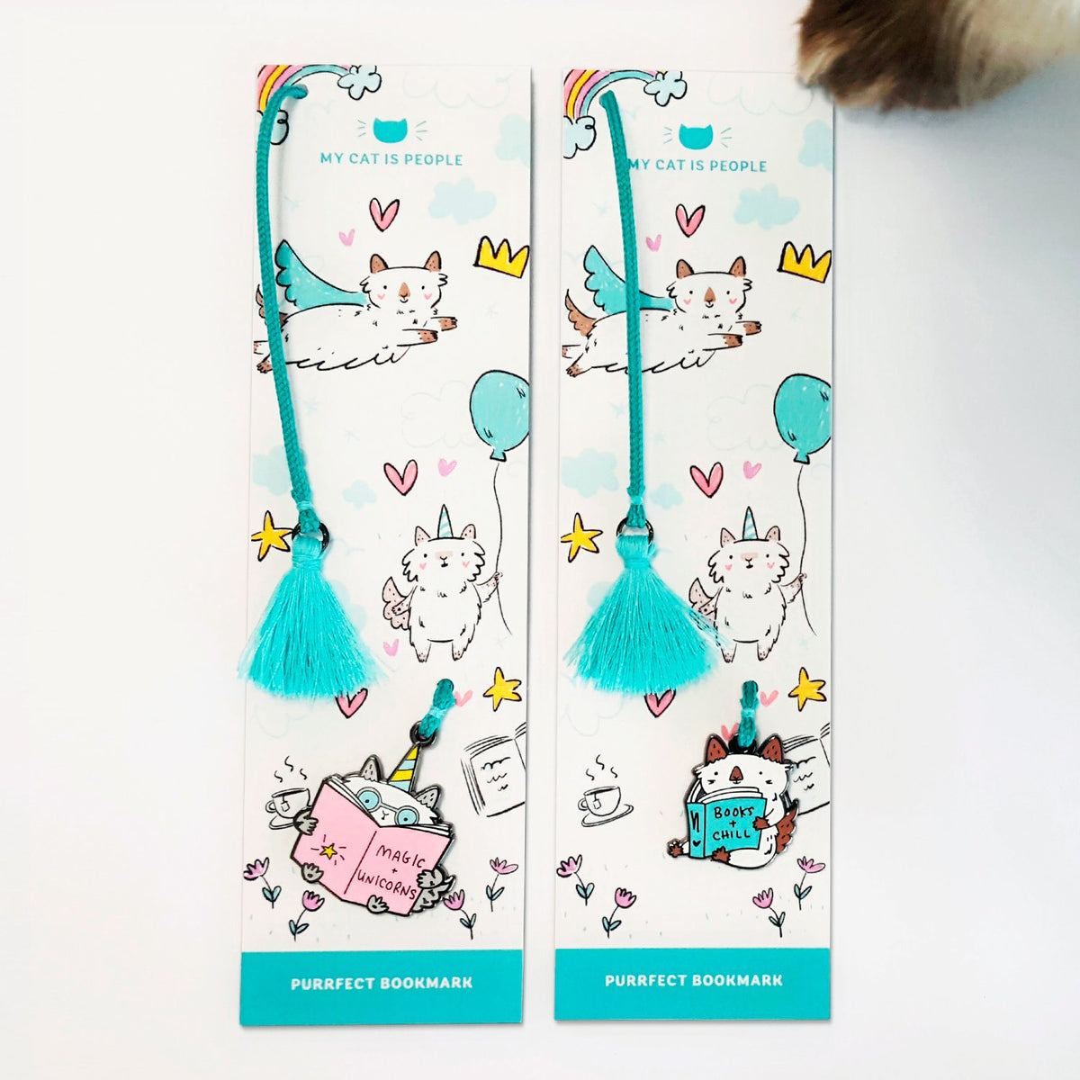 Cute gifts for cat lovers! ~ Enamel cat charm and tassel bookmarks by My Cat Is People. #booksandchill