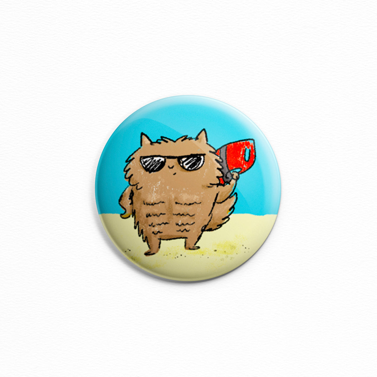 Cat Watch - Button or magnet with an illustration of a cat who is also a lifeguard at the beach. Made by My Cat Is People.