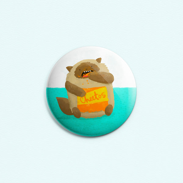 Cheetos Cat - Button or magnet with a drawing of a cat eating Cheetos with Cheetos dust all over his face and paws.
