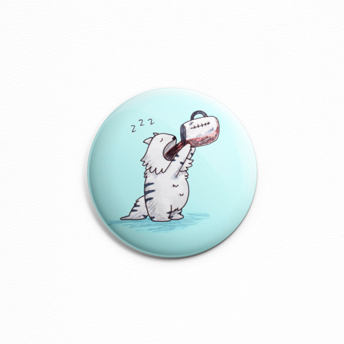 Coffee Cat - Button or magnet with a drawing of a sleepy kitty drinking an entire pot of coffee, probably on a Monday.