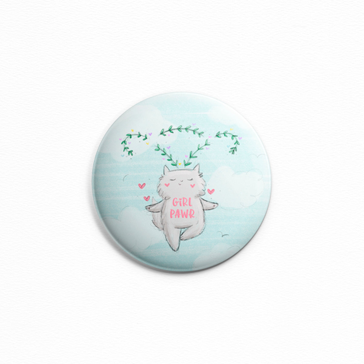 Girl Pawr - Pinback button or ceramic magnet by My Cat Is People