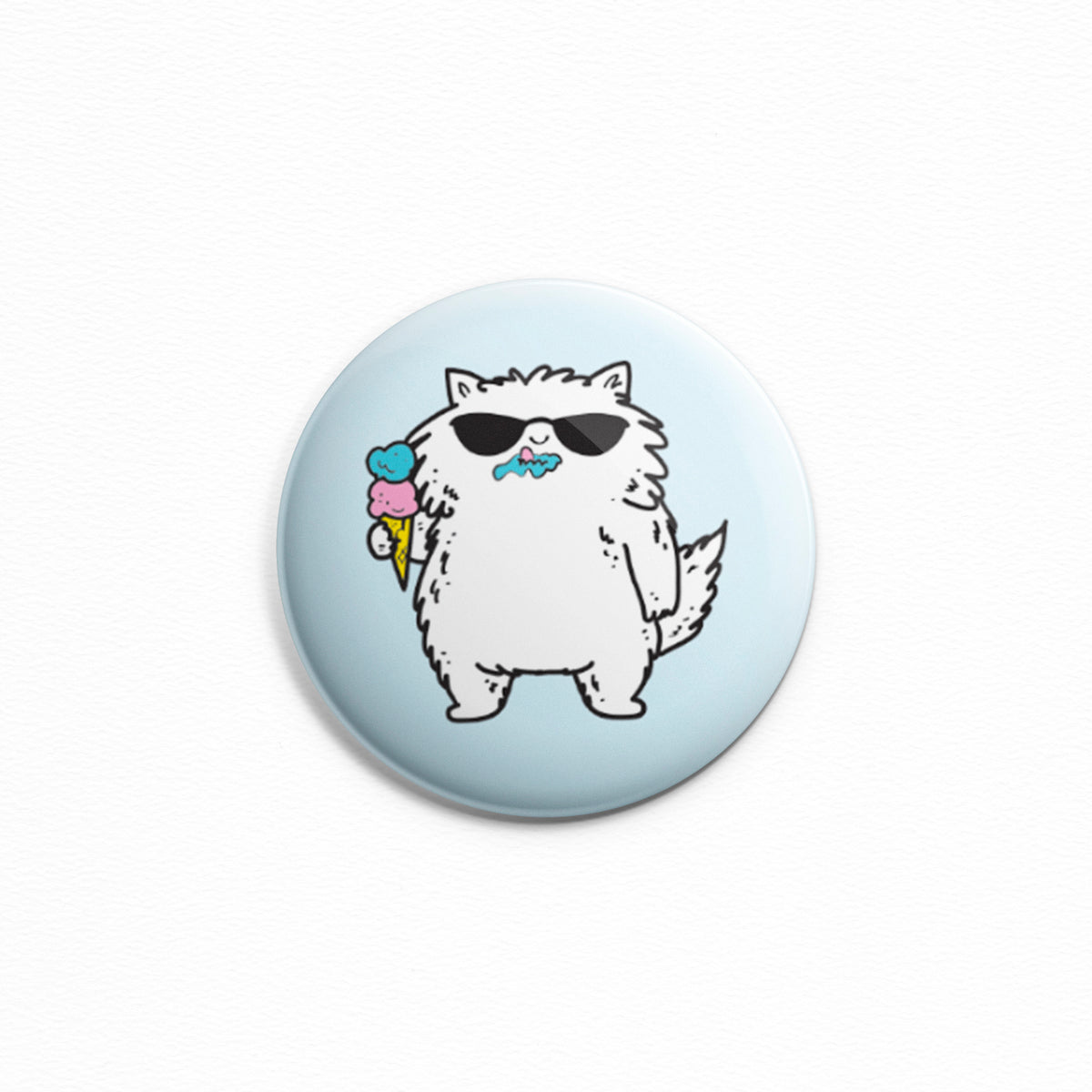 Ice Cream Cat - Button or magnet of a cat wearing sunglasses and holding an ice cream cone. He doesn't care that he has ice cream all over this face! Summer vibes.