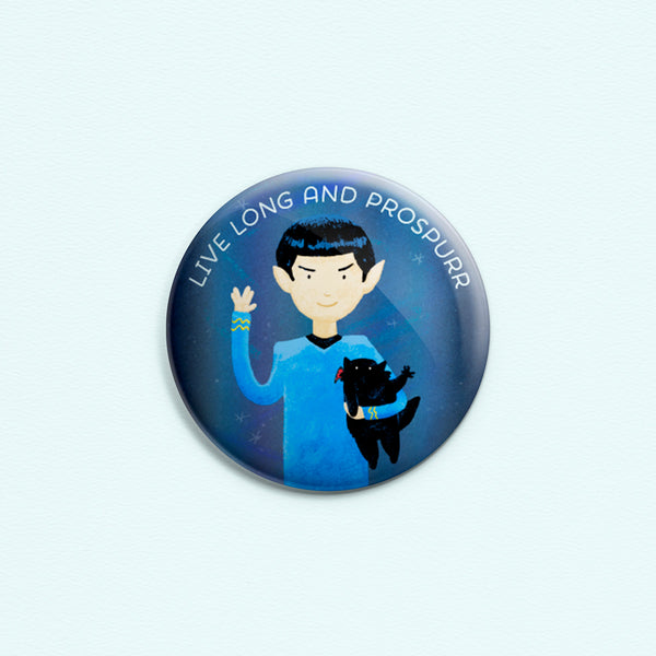 Live Long And Prospurr - Button or magnet with a digital painting of Spock holding a black cat. Both are making the Vulcan salute. LLAP.