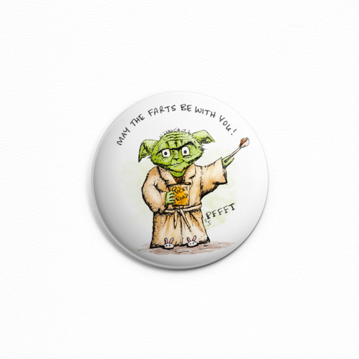 May The Farts With With You - Button or magnet with a drawing of Yoda eating ice cream and tooting! Fart jokes. Lactard.