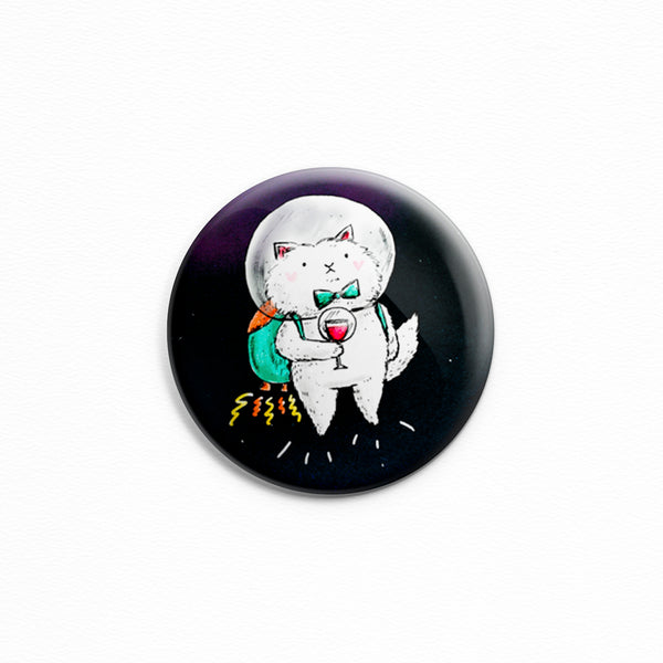 Space Kitty With Wine - Button or magnet with a drawing of a cat in outer space with a glass of wine by My Cat Is People.