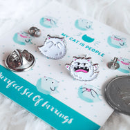 Kitty Boo Boo - Set of two nickel-free ghost kitty earrings by My Cat Is People