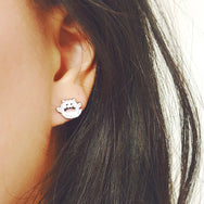 Kitty Boo Boo - Halloween ghost kitty earrings by My Cat Is People. Nickel-free enamel cat earrings.
