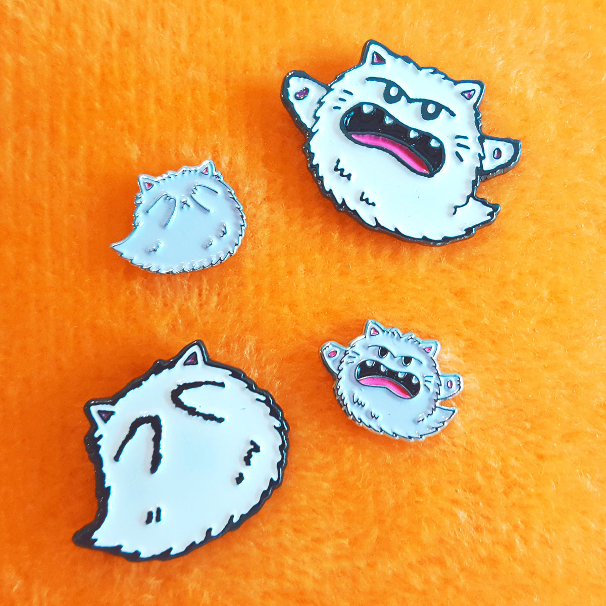 Kitty Boo Boo - Halloween ghost cat pins and earrings by My Cat Is People.