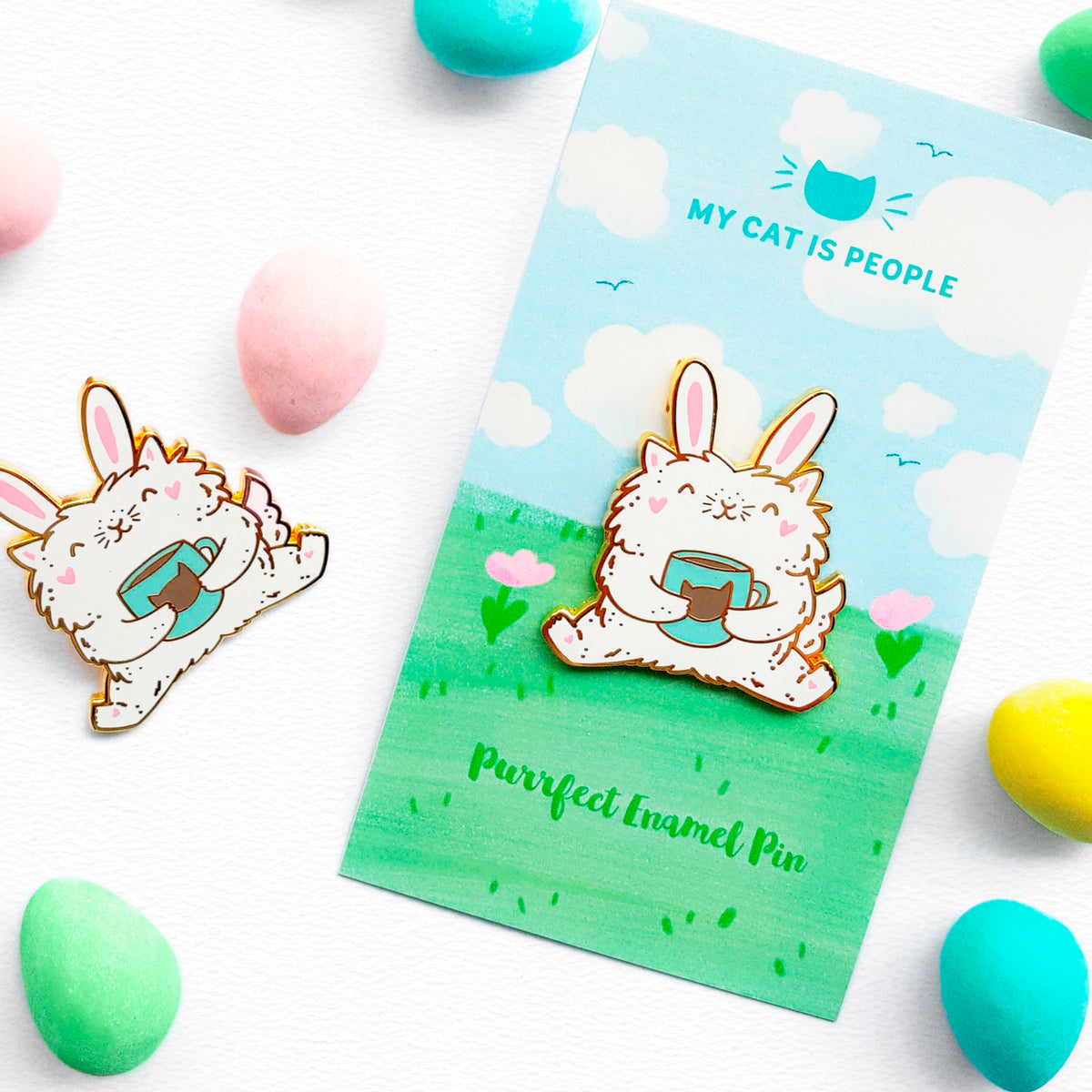 Easter Kitty - Spring Kitty Bunny enamel pin by My Cat Is People