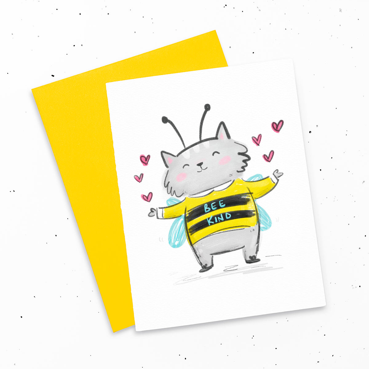 Bee Kind ~ Happy kitty in a bee outfit greeting card by My Cat Is People