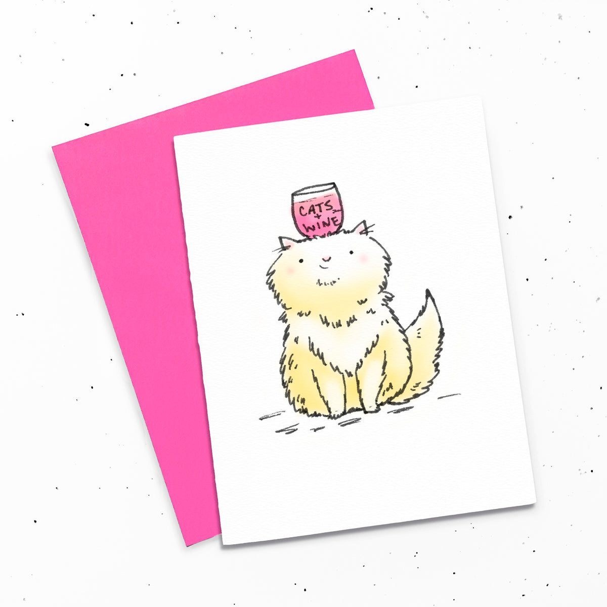 Cats + Wine - Greeting card with a drawing of a ginger cat with a glass of wine on her head.