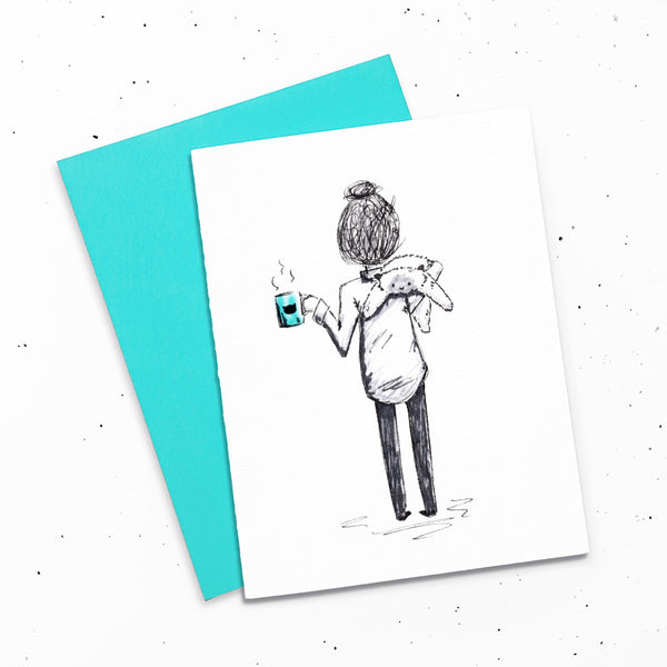 Coffee Girl - Card with a drawing of a girl holding a cup of coffee and a floppy ragdoll cat.