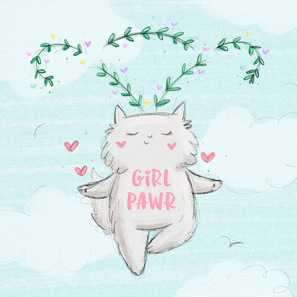 Girl Pawr - Girl power greeting card or art print by My Cat Is People