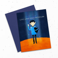 Live Long And Prospurr - Card with a digital painting of Spock holding a black cat. Both are making the Vulcan salute. LLAP.