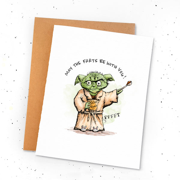 May The Farts With With You - Greeting card with a drawing of Yoda eating ice cream and tooting! Fart jokes. Lactard.