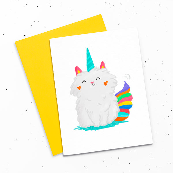 Mewnicorn - Greeting card with an illustration of a magical unicorn cat.
