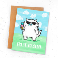 Treat Yo Self! ~ Ice cream cool cat greeting card by My Cat Is People.