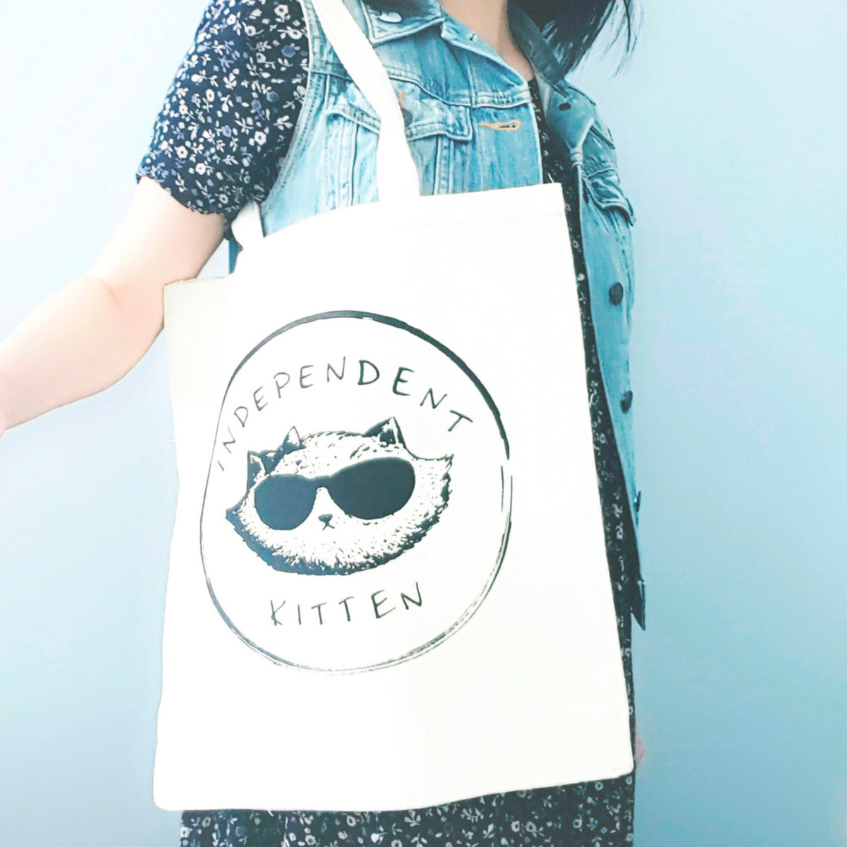 Independent Kitten ~ Screen Printed Tote Bag With Gusset