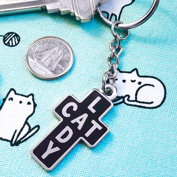 Cat Lady Cross - Enamel keychain charm pendant