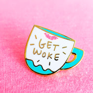 Get Woke ~ Screen printed lipstick mug enamel pin by My Cat Is People