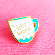 Get Woke ~ Gold metal coffee cup hard enamel pin by My Cat Is People