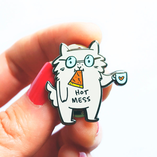 Hot Mess - Cat eating pizza and drinking coffee enamel pin by My Cat Is People