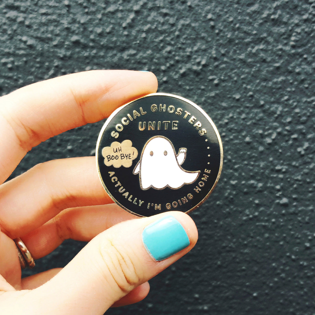 Social Ghosters Unite! Actually I'm Going Home... ~ Gold plated enamel pin of a ghoster's club by My Cat Is People.