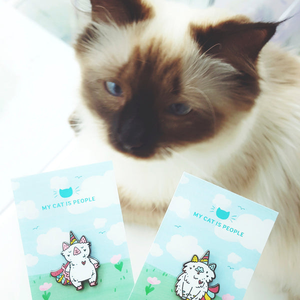 Cute ragdoll kitten and unicorn cat enamel pin designs my My Cat Is People