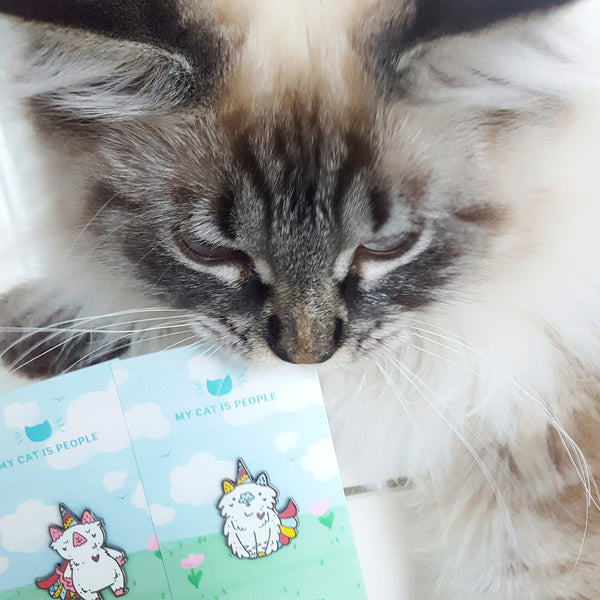 Fluffy ragdoll kitten and unicorn cat enamel pin designs my My Cat Is People