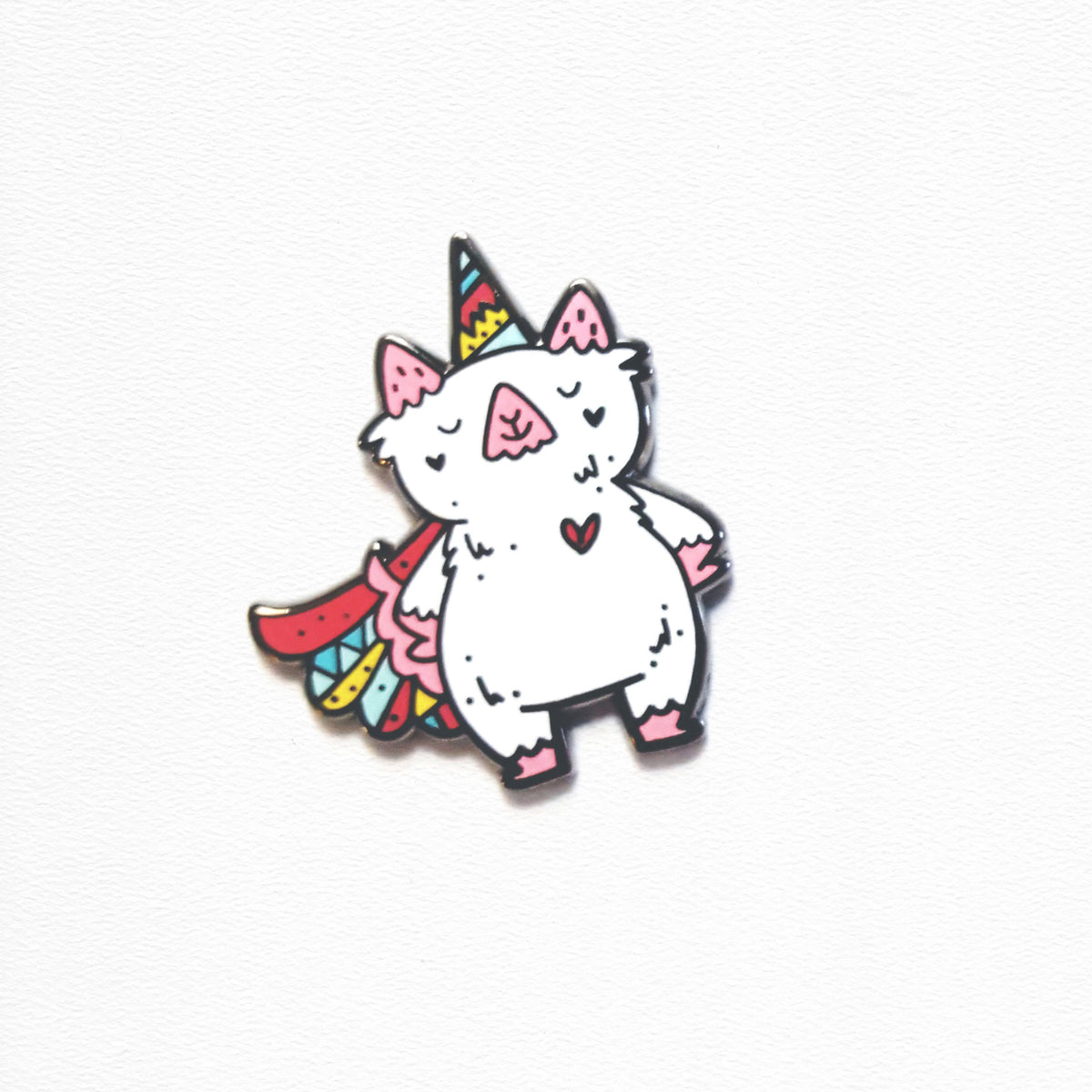 Captain Mabel ~ Superhero unicorn part cat enamel pin by Vancouver designer, My Cat Is People