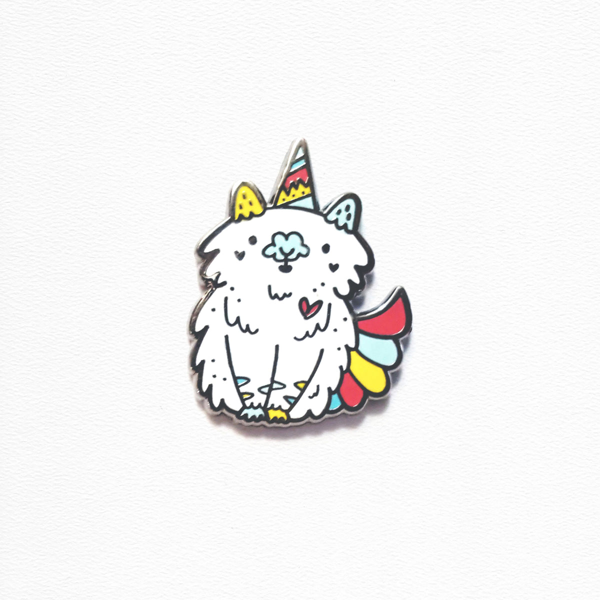 Hubicorn ~ Fluffy unicorn part cat enamel pin by Vancouver designer, My Cat Is People