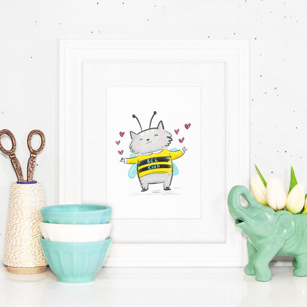 Bee Kind - Halloween art print by My Cat Is People