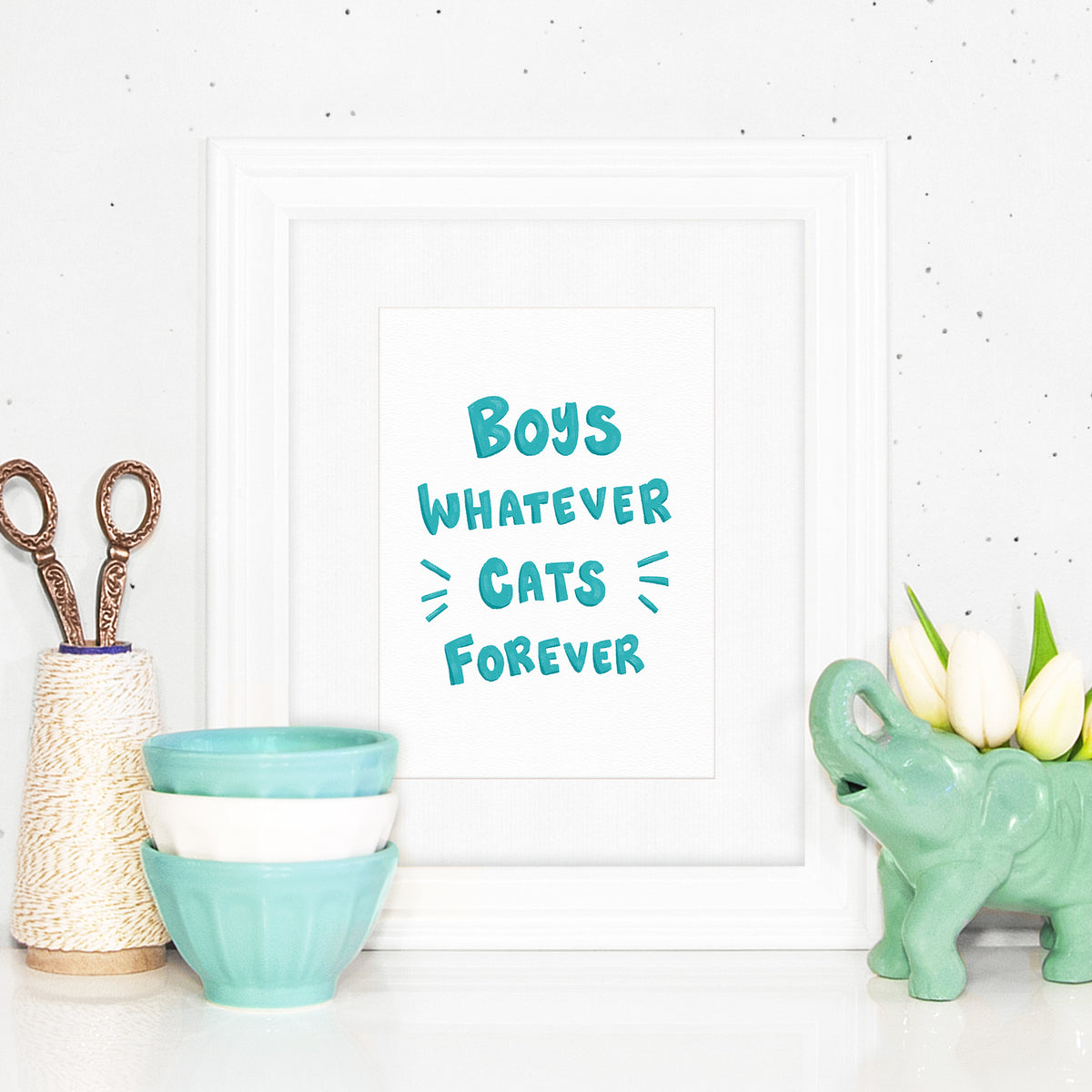 Boys Whatever Cats Forever ~ Typographic art print by My Cat Is People