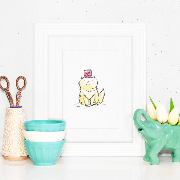 Cats + Wine - Illustration with a drawing of a ginger cat with a glass of wine on her head.