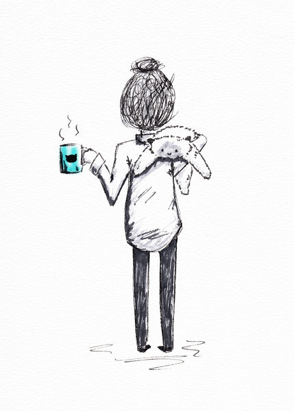 Coffee Girl - Print with a drawing of a girl holding a cup of coffee and a floppy ragdoll cat.