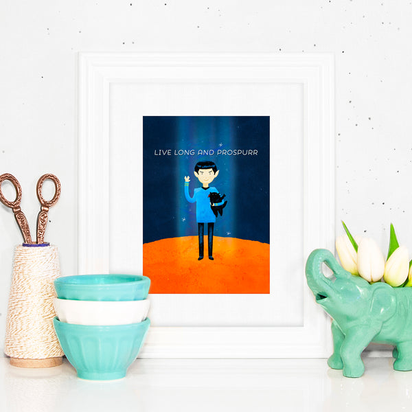 Live Long And Prospurr - Print with a digital painting of Spock holding a black cat. Both are making the Vulcan salute. LLAP.