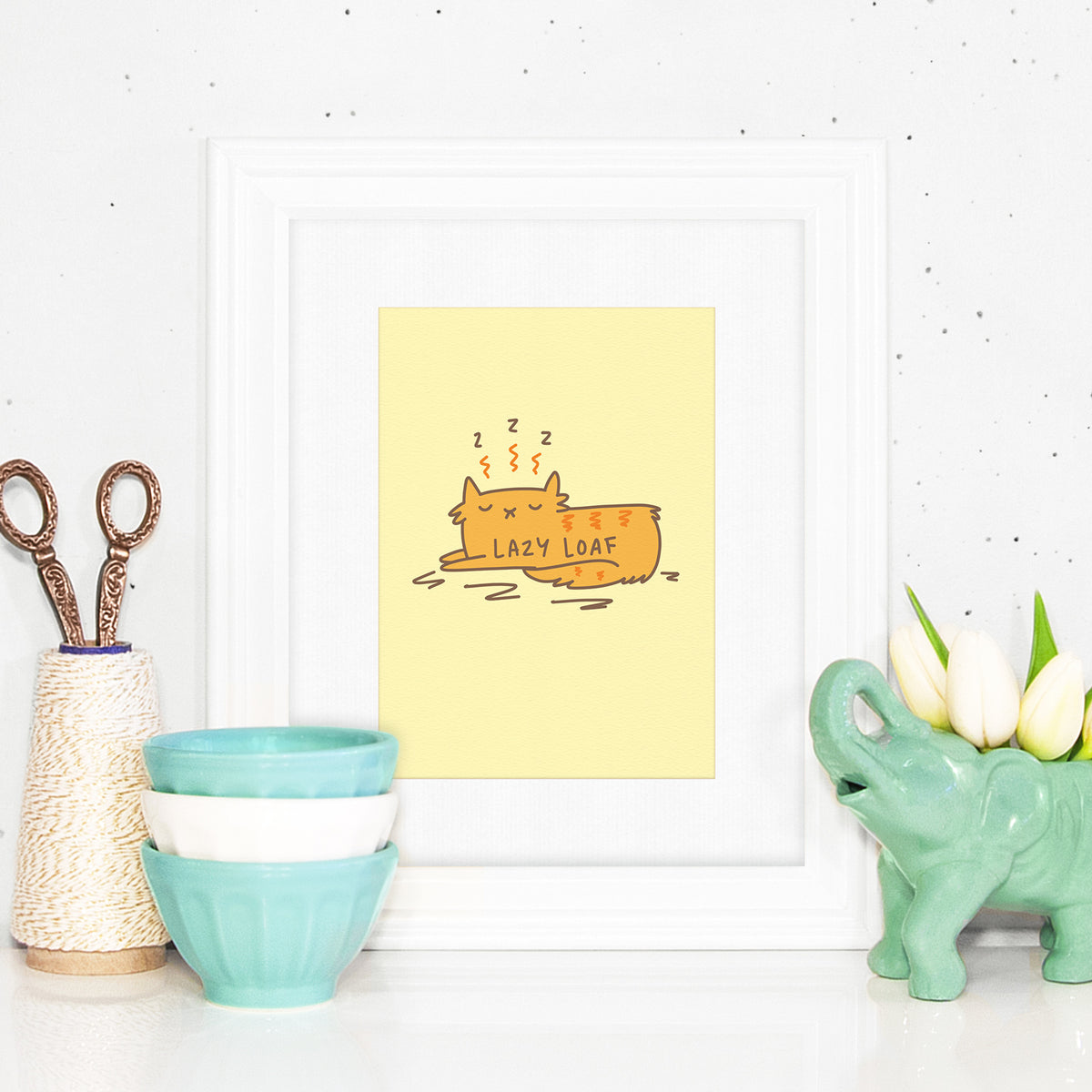 Lazy Loaf - Sleepy cat art print by My Cat Is People