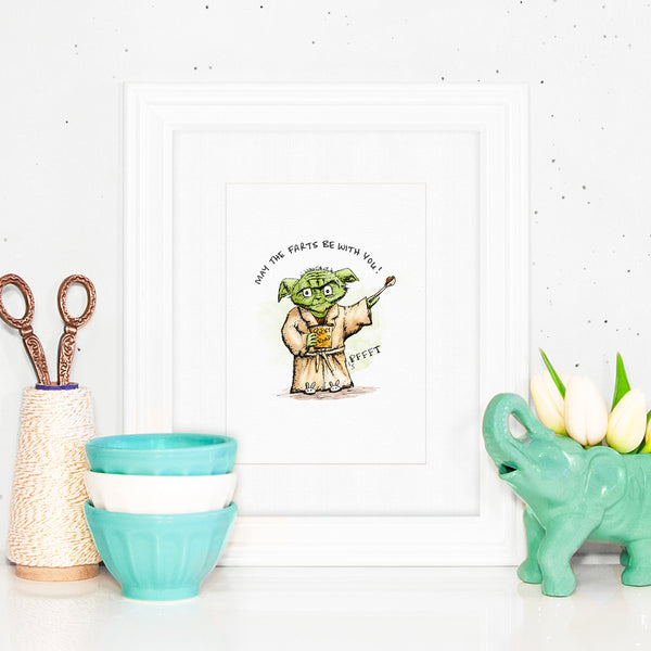 May The Farts With With You - Print with a drawing of Yoda eating ice cream and tooting! Fart jokes. Lactard.
